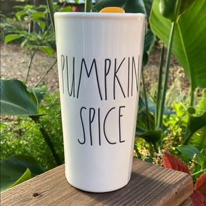 New Rae Dunn PUMPKIN SPICE Ceramic Travel Tumbler